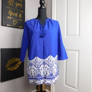 🌻 Chaus Blue Blouse w/ Intricate Detailing (S)